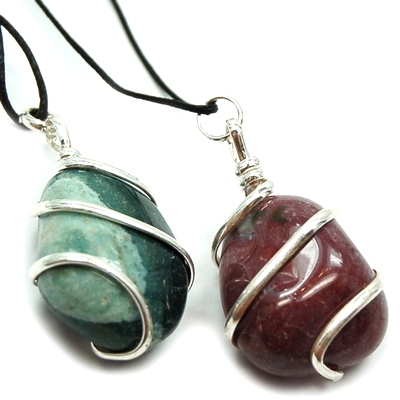 Pendants - Tumbled Fancy Jasper (Wrapped) Pendant (India)