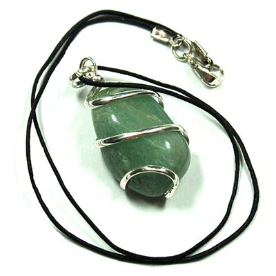 Pendants - Tumbled Green Aventurine (Wrapped) Pendant (India)