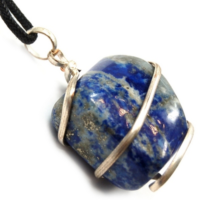 Pendants - Tumbled Lapis Lazuli (Wrapped) Pendant (India)