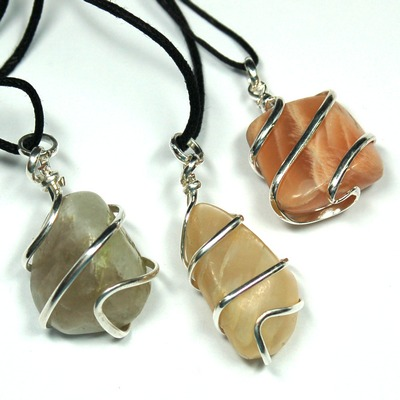 Crystal Pendants - Tumbled Mixed Moonstone (Wrapped)