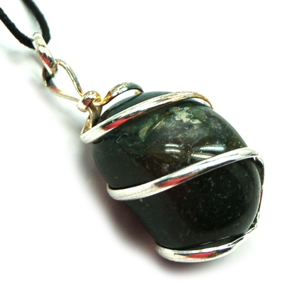 Pendants - Tumbled Moss Agate (Wrapped) Pendant (India)