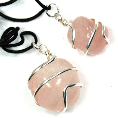 Pendants - Tumbled Rose Quartz (Wrapped) Pendant (India)