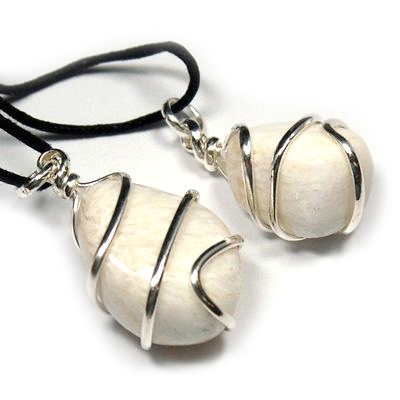 Pendants - Tumbled Scolecite (Wrapped) Pendant (India)