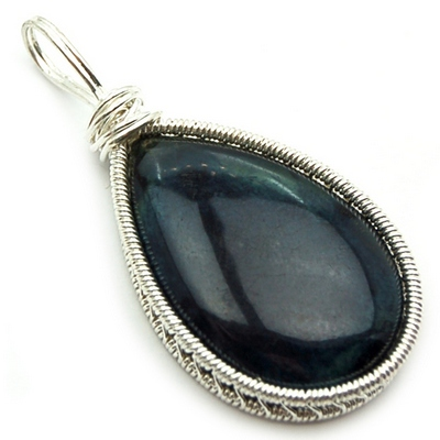 Pendants - Vivianite Cabochon Wire Wrap Pendant (India)