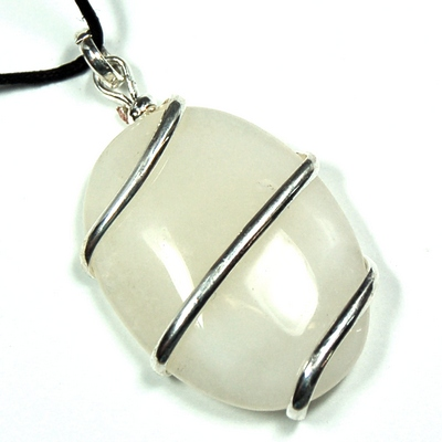 Pendants - White Agate Cabochon Pendant (Wrapped) (India)
