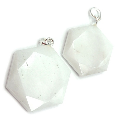 Pendants - White Aventurine Star of David Pendant (India)