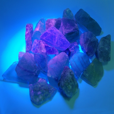 Fluorite - Fluorescent Fluorite Chips/Chunks (China)