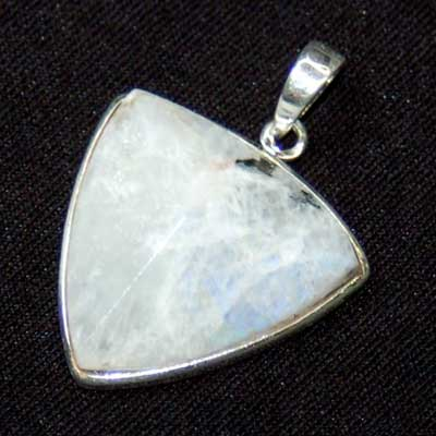 Crystal Pendants - Rainbow Moonstone Faceted Triangle Pendant