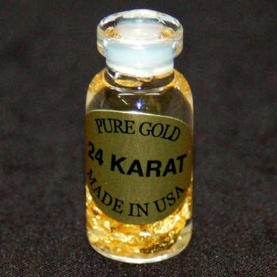 Bottles - Gold Flakes in Liquid in a Bottle (Thin Bottle)
