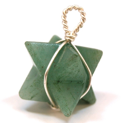 CLEARANCE - Green Aventurine (Wrapped) Merkaba Pendant (India)
