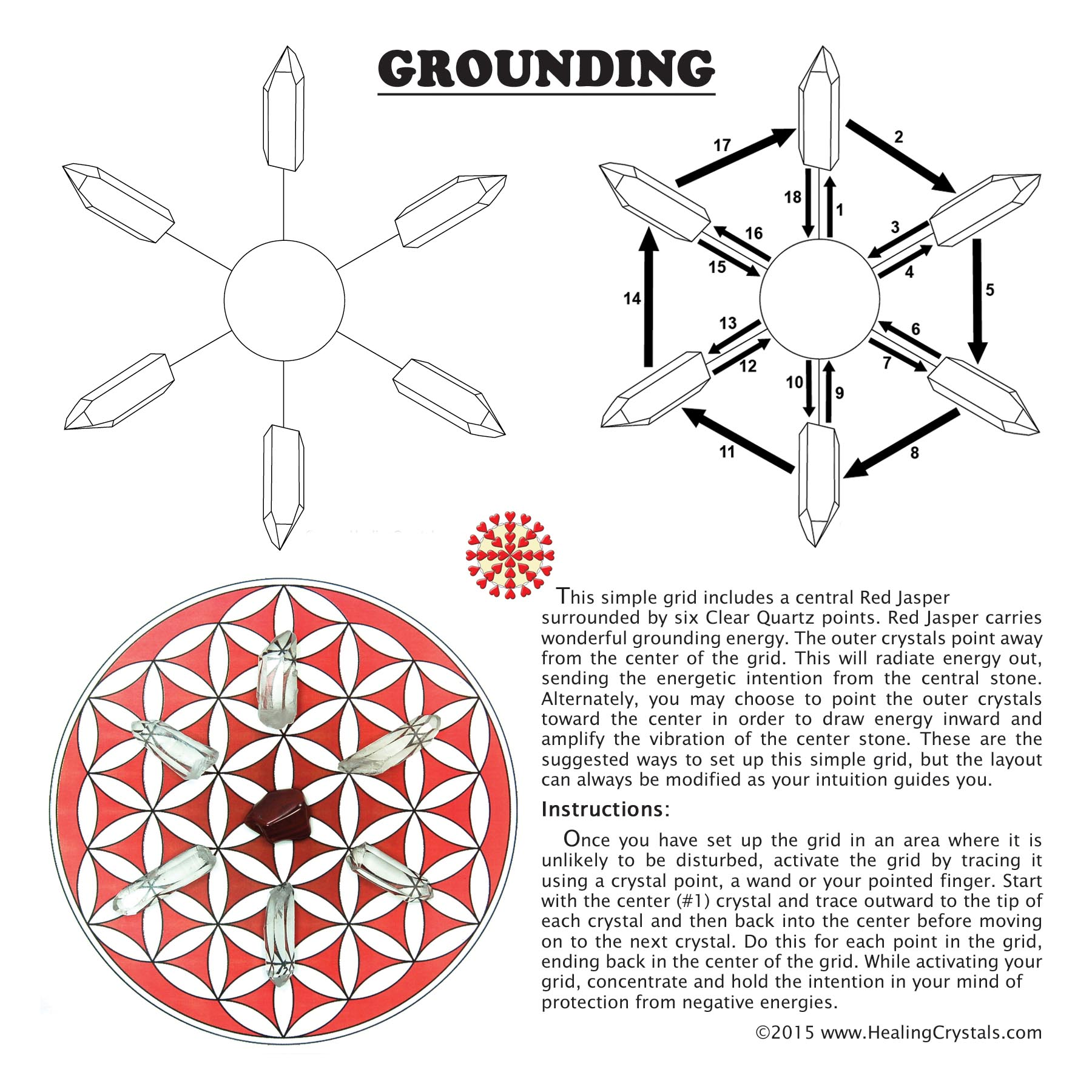 Grid Kit - Grounding Grid Kit w/Red Jasper (10pcs.)