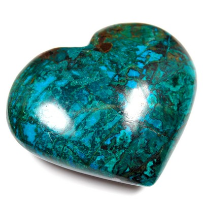 "Hearts - Chrysocolla/Malachite ""Puff\"" Heart (Peru)"