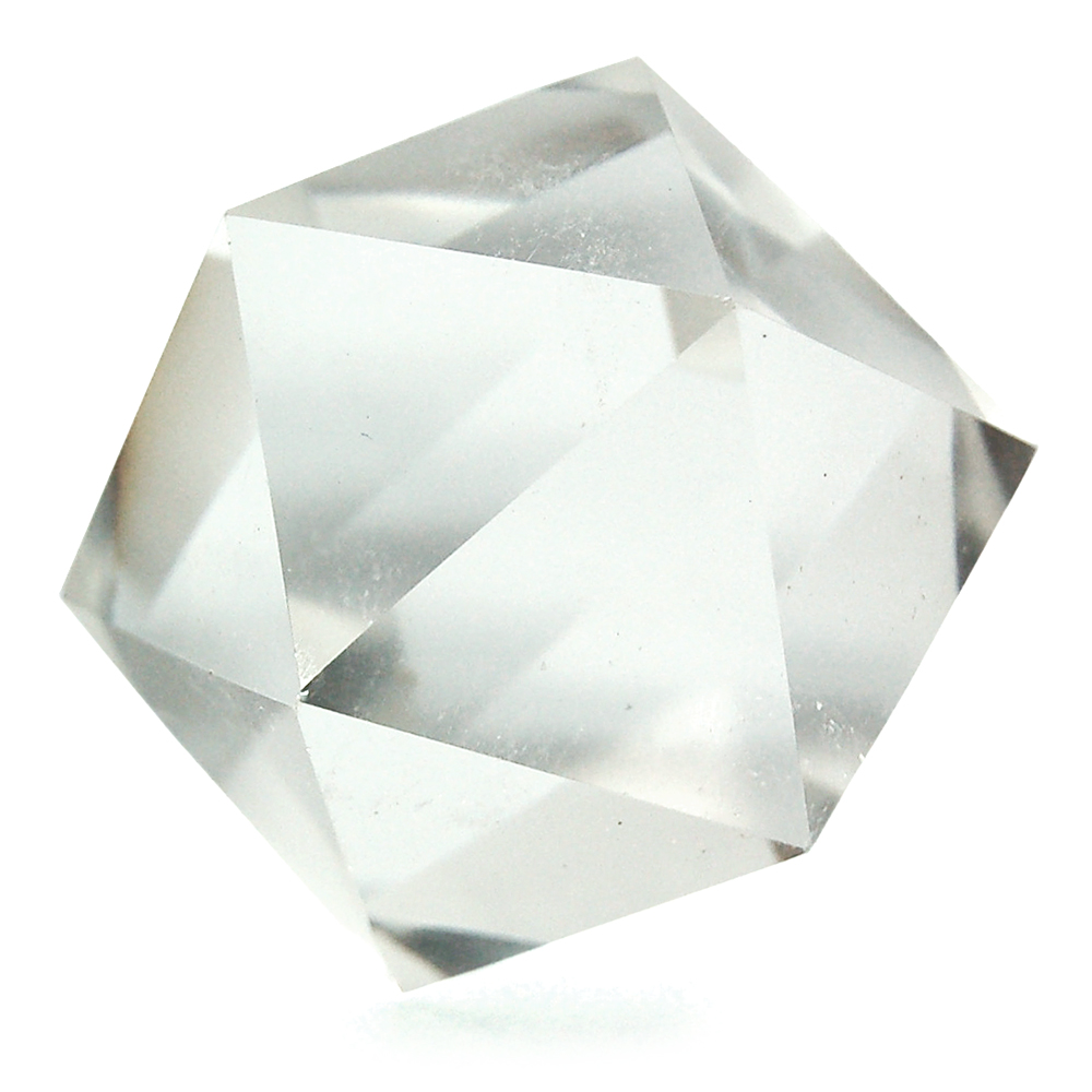 Icosahedron Platonic Solid - Clear Quartz (Brazil & China)