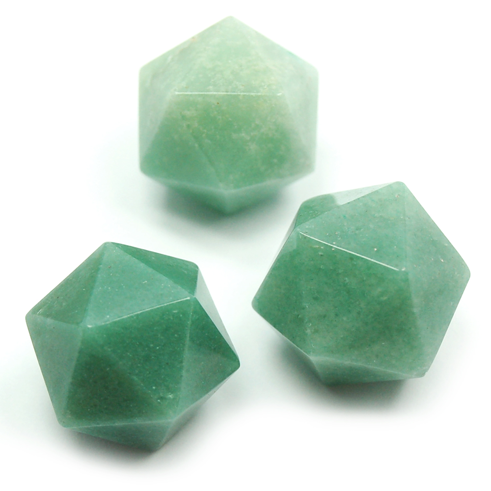 Icosahedron Platonic Solid - Green Aventurine (China)