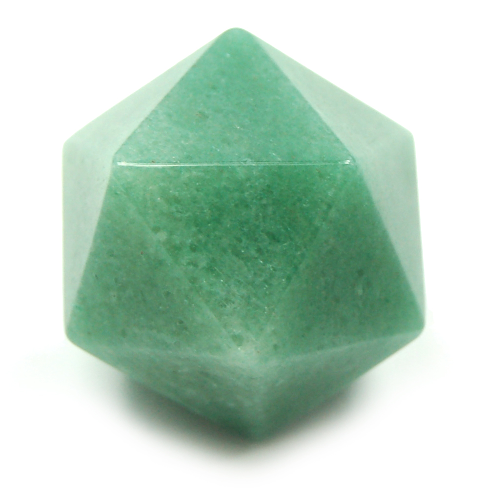 Discontinued - Icosahedron Platonic Solid Green Aventurine