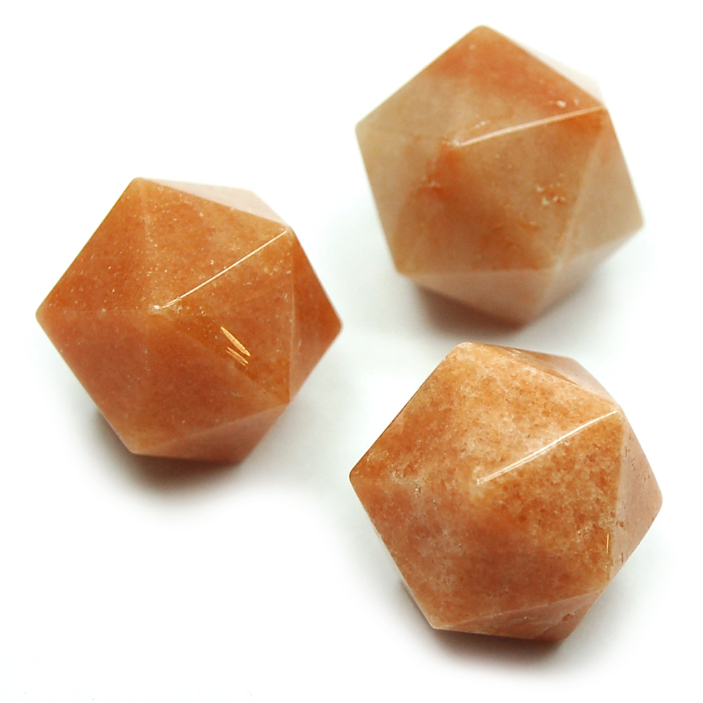 Icosahedron Platonic Solid - Orange Aventurine (China)