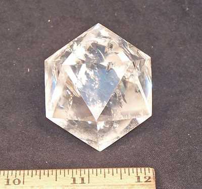 Icosahedron Platonic Solid - Clear & Smokey Quartz