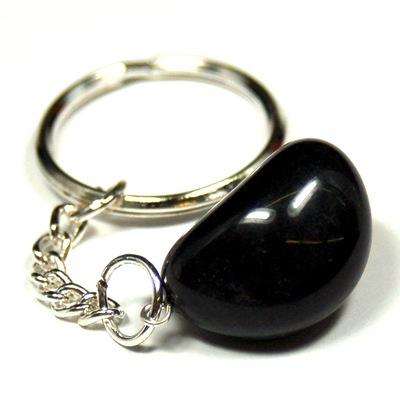 Keychains - Tumbled Black Agate Keychain (India)