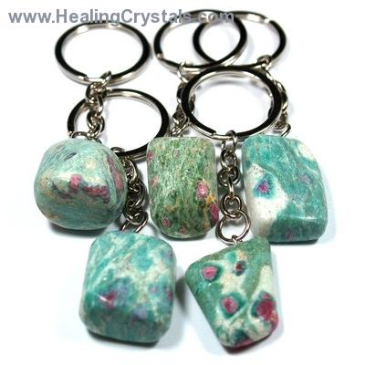 Discontinued - Tumbled Ruby in Fuchsite Keychain (India)