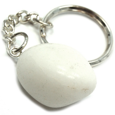 Discontinued - Tumbled White Aventurine Keychain - 5pcs.