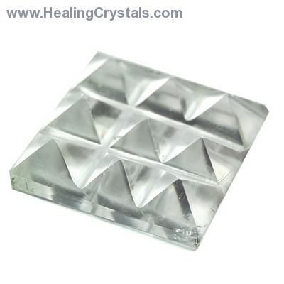 Lemurian 9 Pyramid Charging Plate - Clear Quartz Crystal photo 2