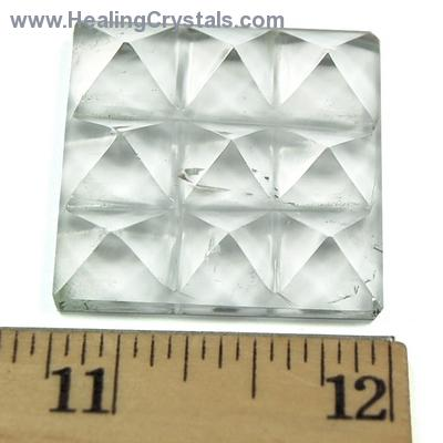 Lemurian 9 Pyramid Charging Plate - Clear Quartz Crystal photo 3
