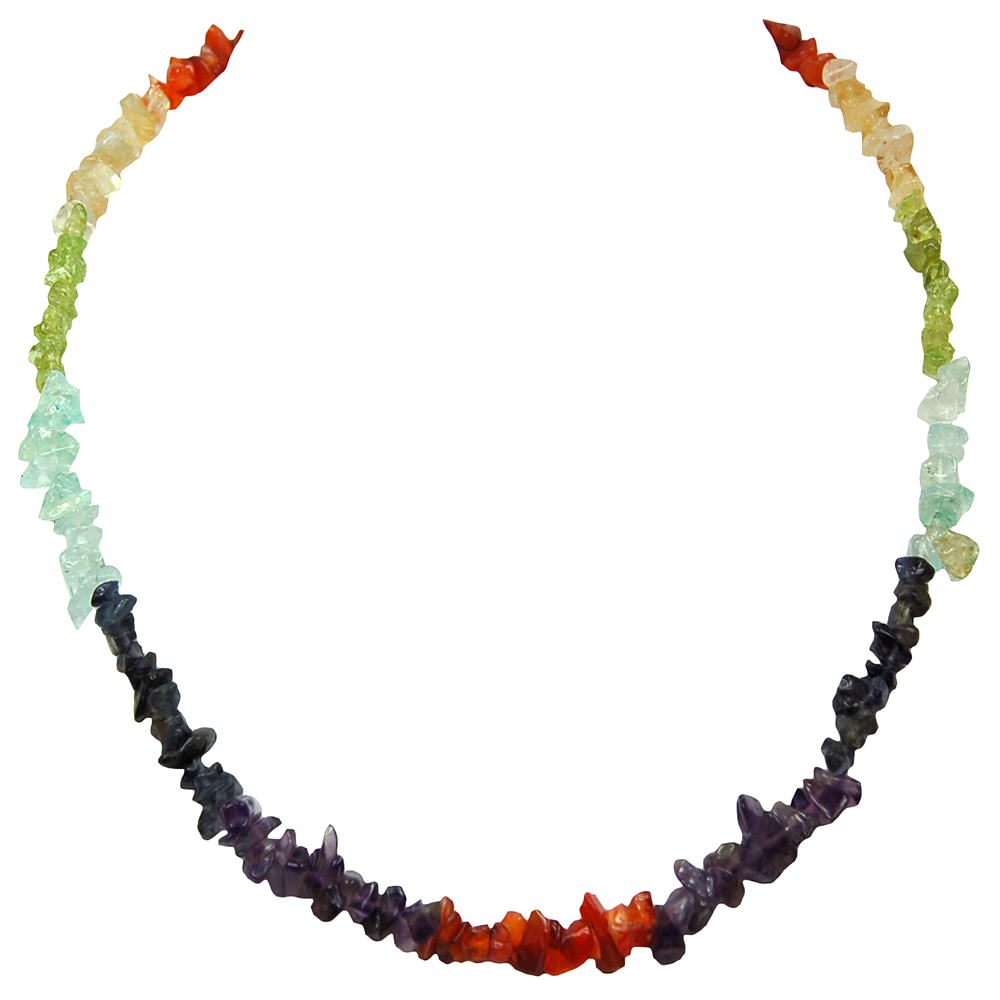 Discontinued - 7 Chakra Tumbled Chips Necklace #2 (India)