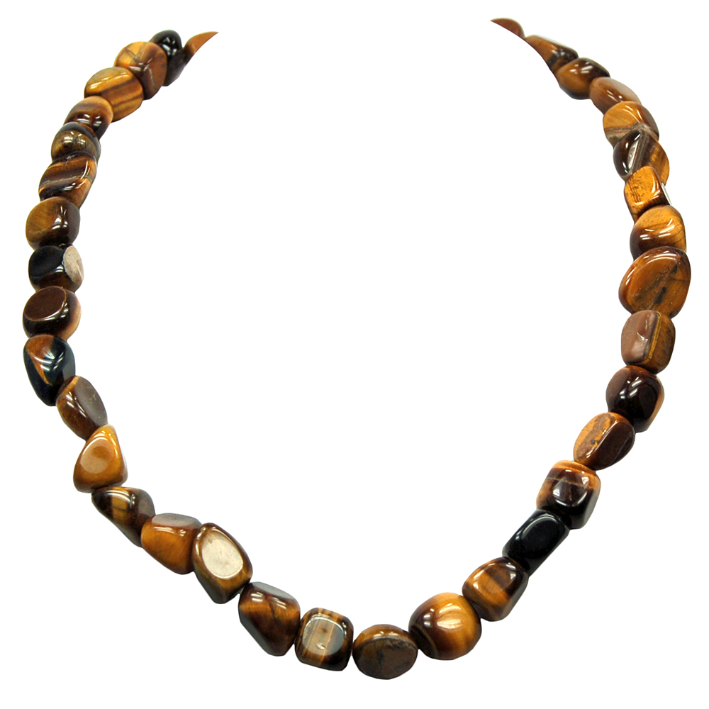 Necklaces - Golden Tiger Eye Tumbled Nugget Necklace (China)