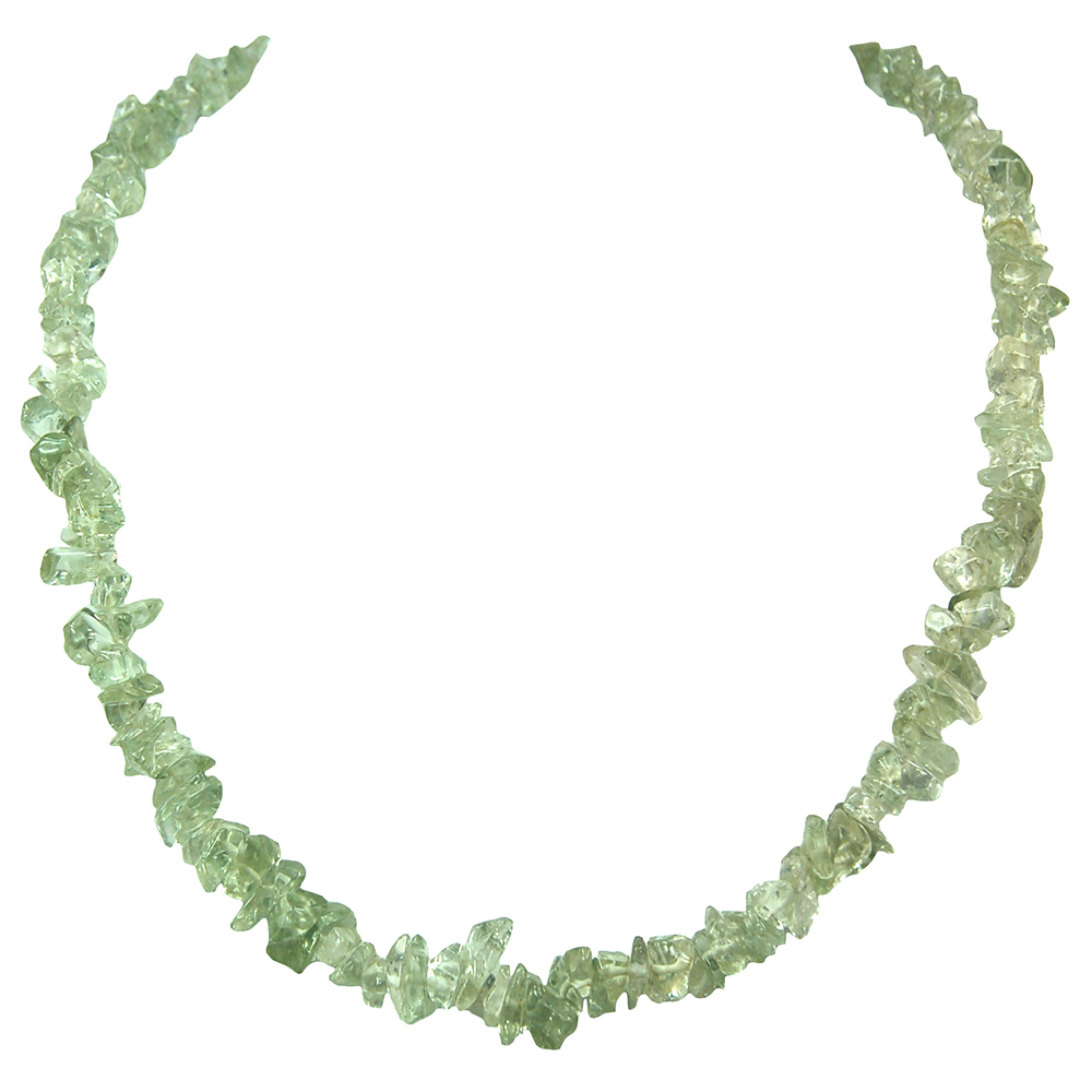 Green Amethyst Tumbled Chips Necklace
