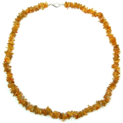 Discontinued - Yellow Agate Tumbled Chips Necklace (India)