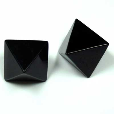 Octahedron Platonic Solid - Black Onyx (China)