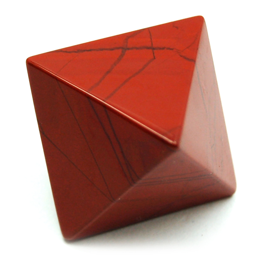 Octahedron Platonic Solid - Red Jasper (China)
