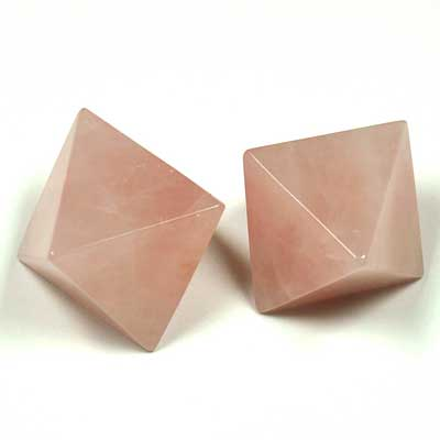 Octahedron Platonic Solid - Rose Quartz (China)