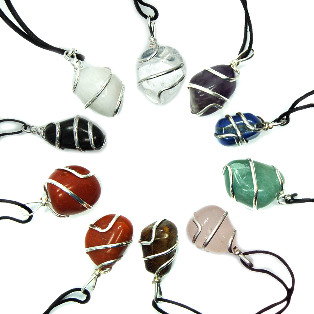 Chakra Tumbled (Wrapped) Pendant Assortments (India)