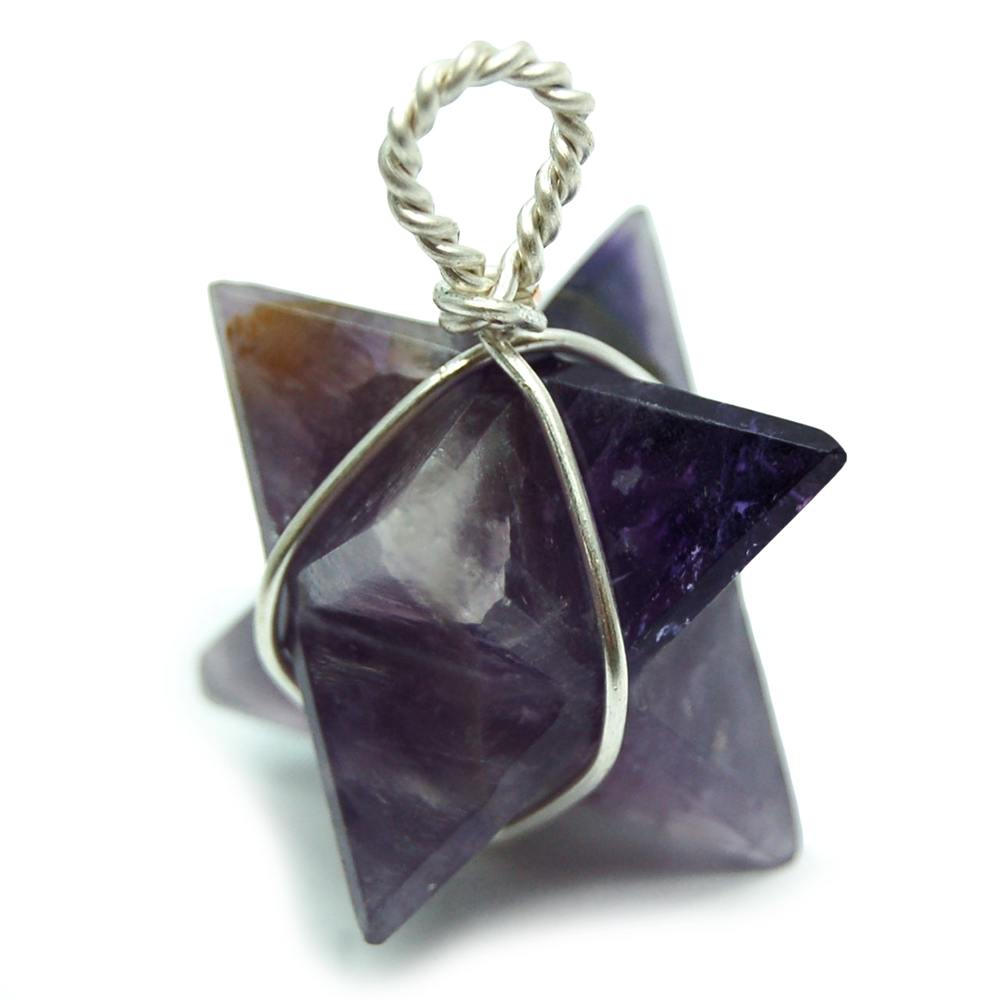 Pendants - Amethyst Merkaba (Wrapped) Pendant (India)