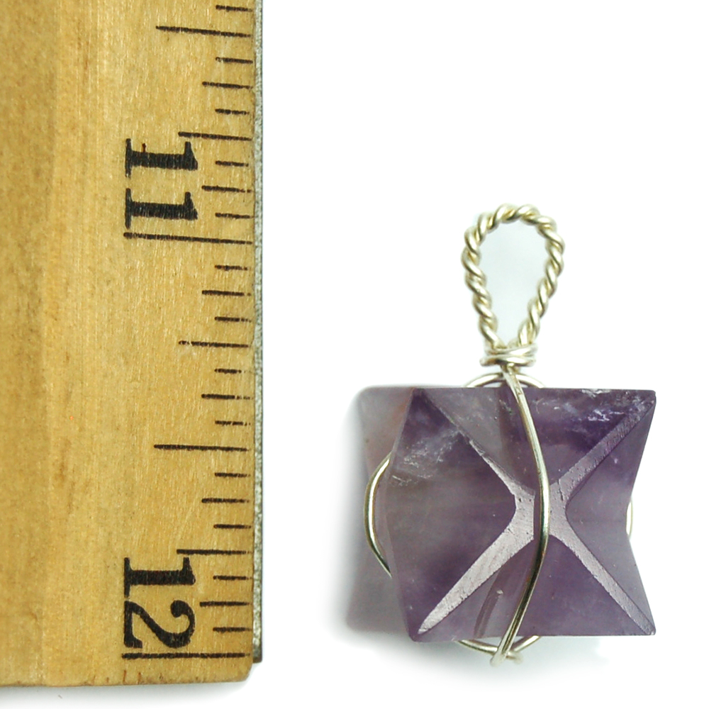 Merkaba Wire Wrap Pendant - Amethyst photo 4