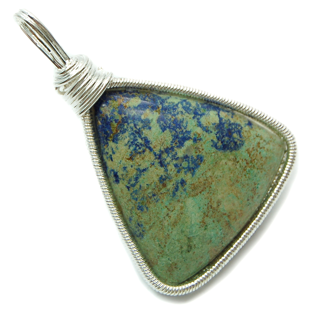 Pendants - Azurite Cabochon Wire-Wrap Pendant (India)