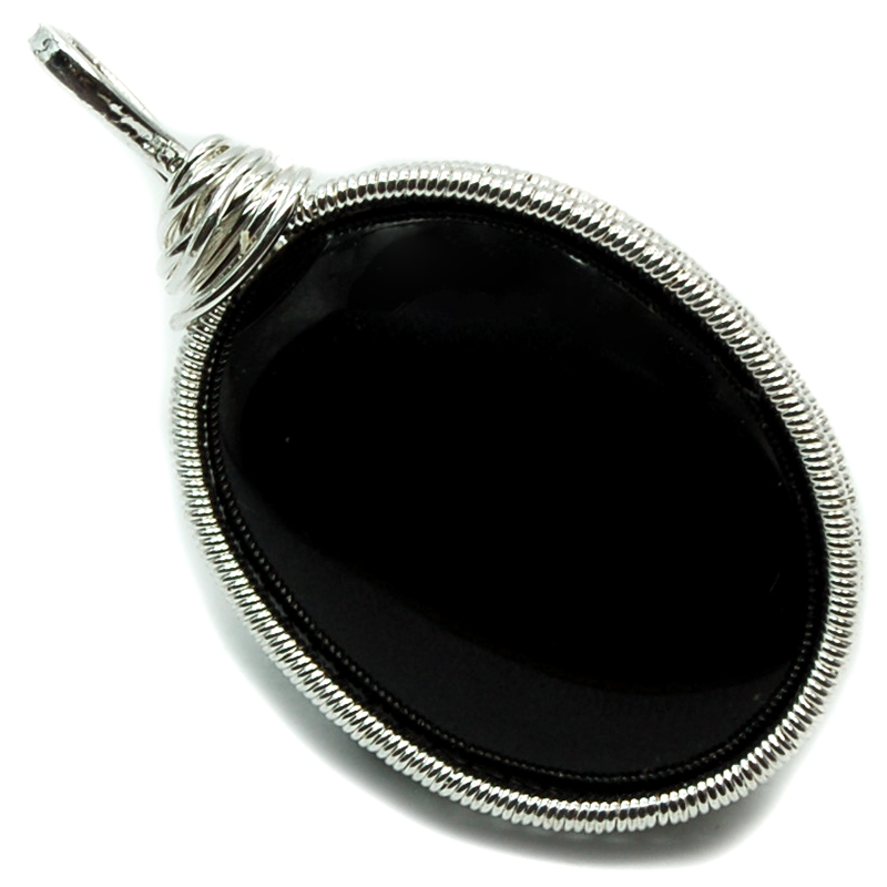 Pendants - Black Agate Cabochon Wire Wrap Pendant (India)