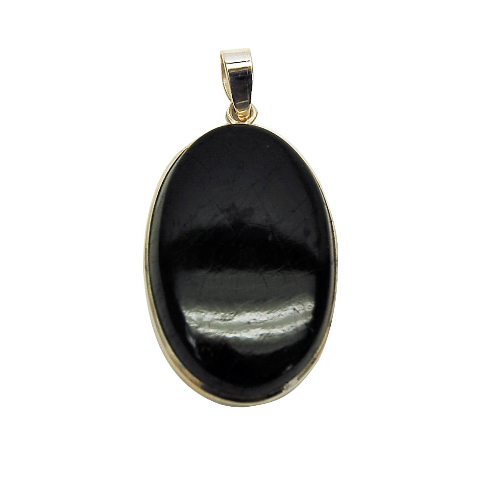 Pendants - Black Tourmaline Oval Cabochon Pendant (India)