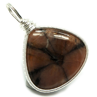 Pendants - Chiastolite Cabochon Wire Wrap Pendant (India)