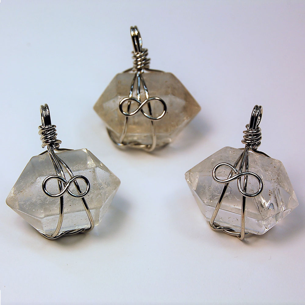 Clear Quartz Wire Wrapped Double Terminated Pendant