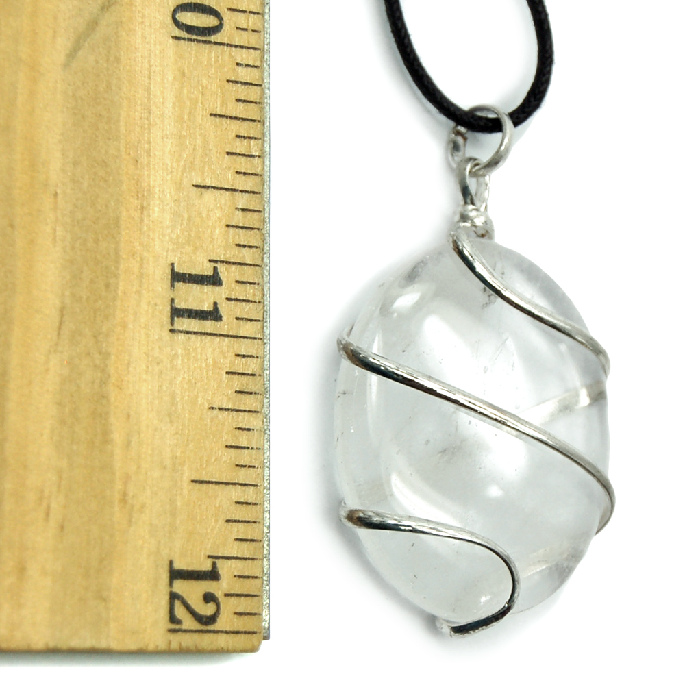 Pendants - Clear Quartz Wrapped Cabochon Pendant (India)