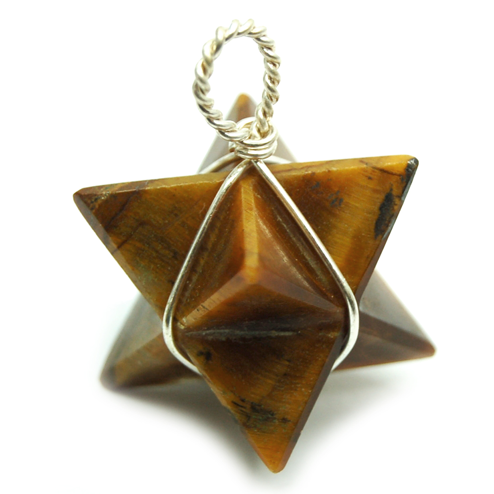 Pendants - Golden Tiger Eye Merkaba Wrapped Pendant (India)