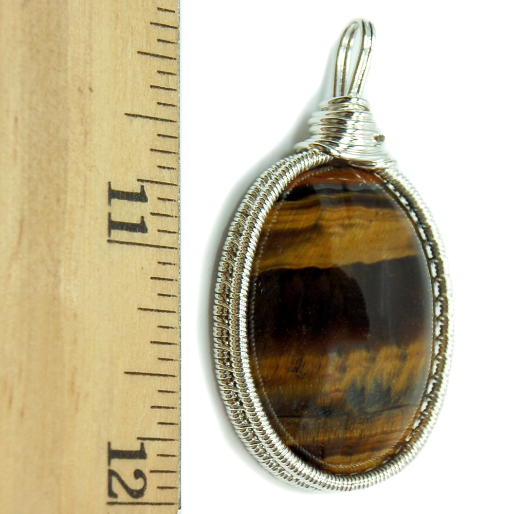 Pendants - Golden Tiger Eye Cabochon Wire Wrap Pendant (India)