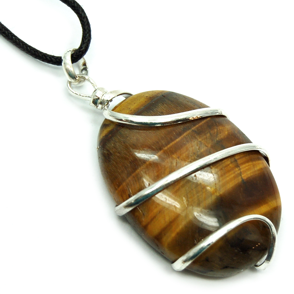 Pendants - Golden Tiger Eye Wrapped Cabochon Pendant (India)