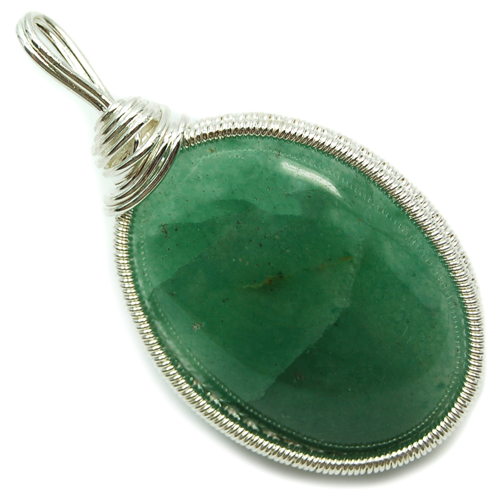 Pendants - Green Aventurine Cabochon Wire-Wrap Pendant (India)