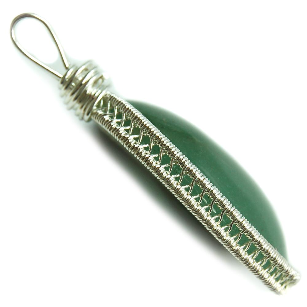 Pendants - Green Aventurine Cabochon Wire-Wrap Pendant (India ...