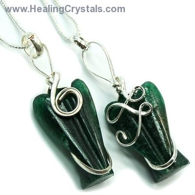 Pendants - Green Aventurine Wire-Wrapped Angel Pendant (India)