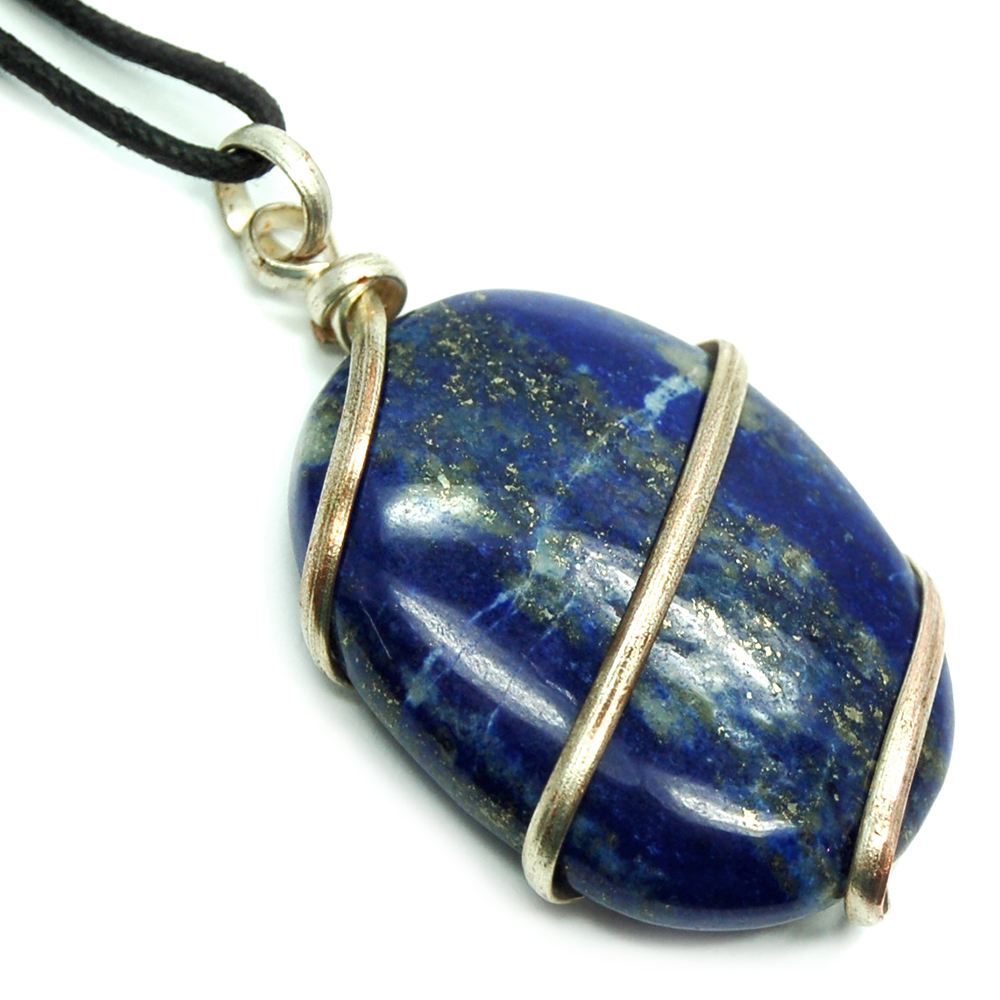 Pendants - Lapis Lazuli Wrapped Cabochon Pendant (India)