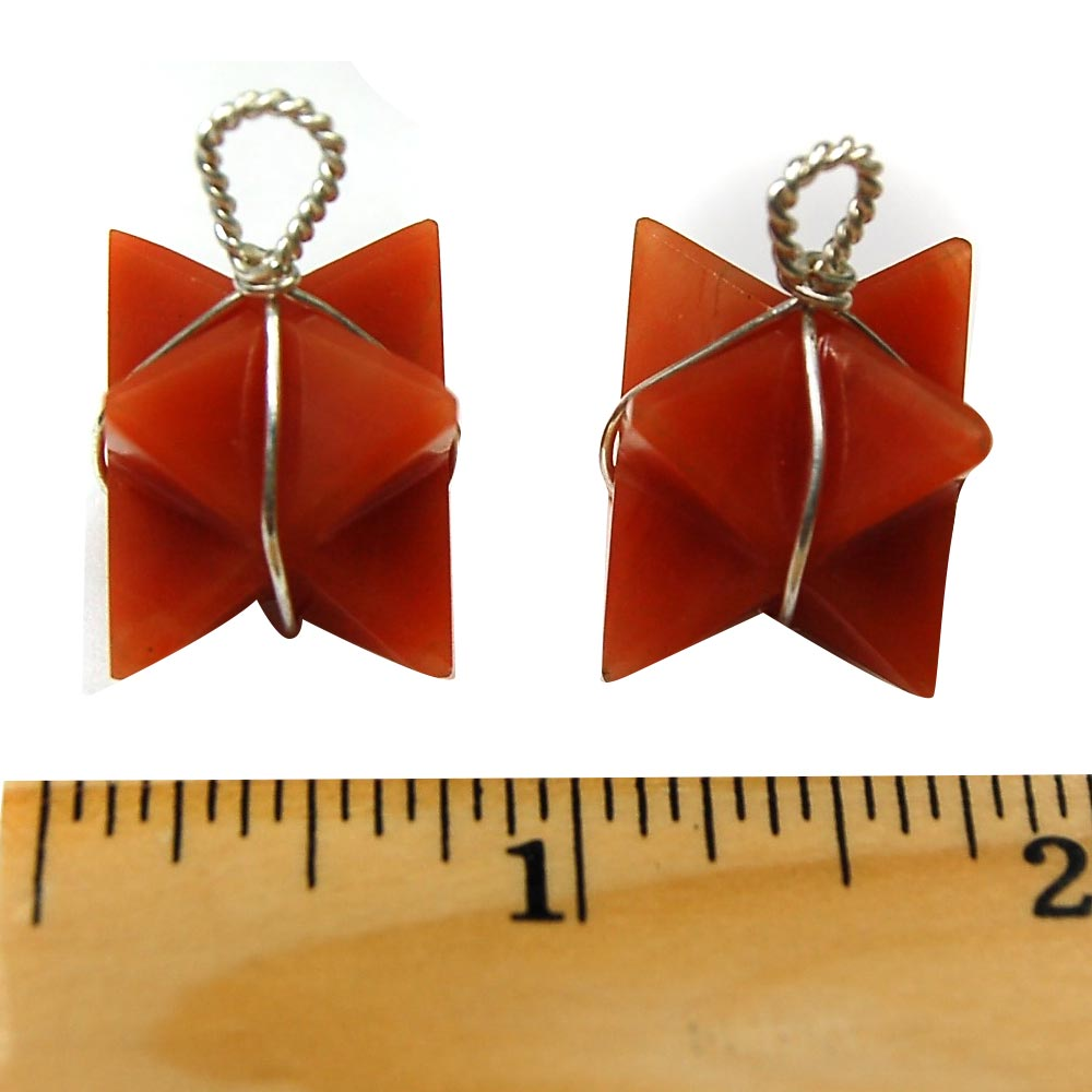 Pendants - Orange Aventurine Merkaba Pendant (Wrapped) (India)